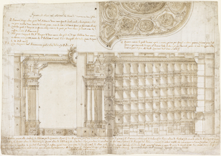 Architectural drawing for the Teatro Filarmonico. Lower right side of drawing details seating section of theater. Upper right side details ceiling decoration. Lower left side depicts left side of the stage. Each design is noted with letters and accompanied by a description in Italian.