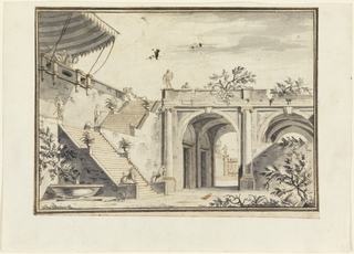 Horizontal rectangle. View of garden in Italian villa, building with large arches at right, stairs leading up at left with figural and animal sculptures on pedestals. Fountain at lower left. At upper left, under striped canopy, two figures turn towards each other, woman holding tambourine. At top of stairs, male figure bends to pet dog.