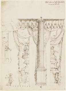 A fluted Ionic column upon a pedestal, parts of the stage frame on either side. At left, right side wing with large vase upon a pedestal. At right, left side wing with sculpture of seated figure upon a pedestal. An actor in the fantastic attire of a warrior is represented at left, standing on the floor line with plumed hat and sword. Scale is indicated on left part of floor line. The width of the column at the broadest point of the entasis is possibly indicated. At center of left edge, sketch of a side wing, part of building with door.
