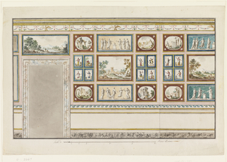 Design for a wall.  The door is located near the left edge.  It has a molded frame in marble color.  Below, the wall has a dado, above an entablature with a frieze which is decorated with festoons supported by knots, palmettes, and at the most prominent parts by displayed eagles.  A line indicates the corner formed by the entrance wall and the one adjoining at right.  The wall is covered with panels, which hold pictures.  One and a half panels with pictures is visible (cut off on the right hand side).  On both panels, the pictures are arranged in similar fashion.   The three paintings in the middle row depict, from top to bottom, a scene of sacrifice, landscape, and dance.  Corner pictures are in oval shape and they depict architectural structures.  Four small panels between them show figures in costumes.  Above the door is a landscape.