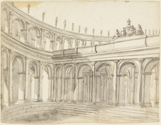 Outside is a segment of a circular enclosure, consisting of two stories of colonnades, with statues upon the entablature of the upper one. Steps lead to a transversal colonnade, crowned in the center by a quadriga.