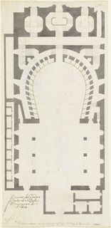 Ground plan of the San Carlo theatre at Naples.  Verso: study for the base of a tomb and section of a circular ground plan.