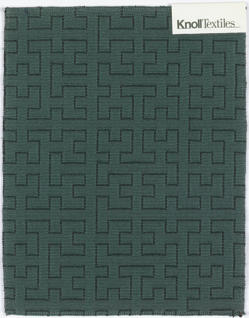 """Design of interlocking Hs outlined in dark blue on a teal ground. """"Teal"""" colorway, from the Square Root Collection."""