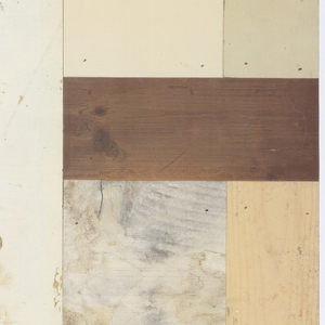 Pattern simulates a parquet design, composed of found scraps of wood. The wood pieces have been painted and show obvious signs of use.