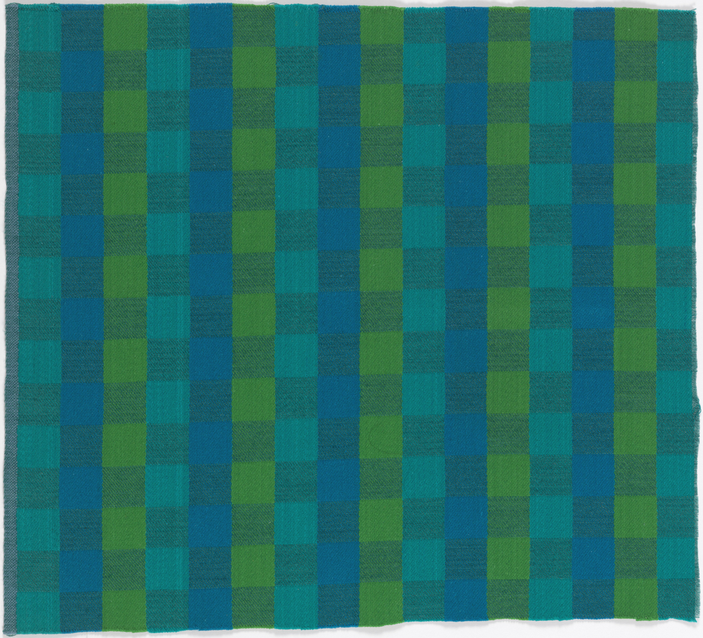 "Grid of squares in two different weave structures in ""Blue and Green"" colorway."