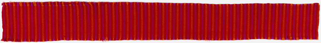 "Even, balanced vertical stripe in ""Chinese Red, Persimmon and Shocking Pink Stripes"" colorway."