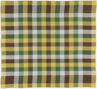 "Balanced plaid in dark brown, dark green, yellow and off-white (""Curry"" colorway)."