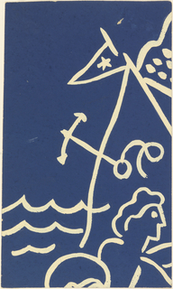On blue ground (reading from the lower right to upper right corner) motifs of swimmer (?) holding ball, waves, anchor, and flying pennant drawn in white cream.