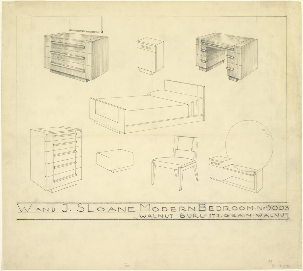 Designs for W. & J. Sloane Modern Bedroom suite No. 9003 in walnut burl and straight grain walnut. All objects shown in perspective. From upper left to lower right: three-drawer dresser with mirror, night stand, desk, bed, tall dresser, vanity seat, side chair, and vanity.  All objects of feature similar elements including horizontal drawer hardware, planar surfaces, and rectilinear forms.