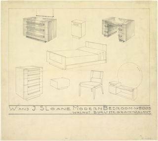 Drawings of various pieces of furniture to form a bedroom suite. From top to bottom, left to right. A shaded dresser with three drawers and mirror, a nightstand with a drawer on top and cupboard on bottom. A shaded desk with three drawers on each side. A bed with head and foot board. A dresser with five drawers, a rectangular ottoman, a low chair, a low vanity with a drawer and cupboard on the left, and a glass top across the rest with a large circular mirror.