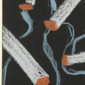 "Design for textile titled ""Party Ashtray"". White cigarettes with red-orange glowing ends emit blue wisps of smoke arranged across black ground."