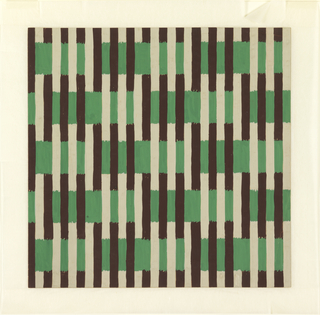 Drawing, Textile Design: Interwoven Brown and Green Stripes