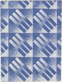 Drawing, Textile Design: Blue and White Squares and Rectangles