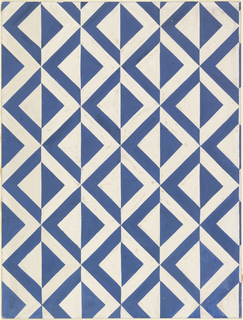 Drawing, Textile Design: Blue and White Alternating Triangles