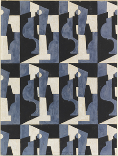 Drawing, Textile Design: Cubist Forms in Blue