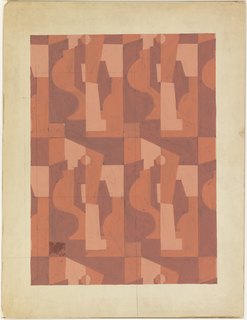 Drawing, Textile Design: Cubist Forms in Red, ca. 1930