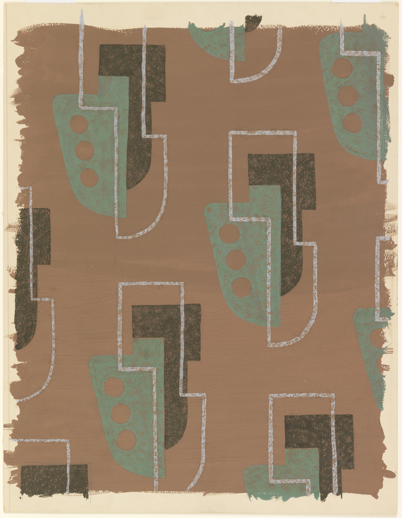 Design for textile with all-over, repeat pattern of stylized drop motif. Brown ground with stylized drop motif in black, green, and white outline. White outline features rectilinear shape above and curved one below over green half-spade shape with three brown dots at left which abuts black shape that echoes white outline.
