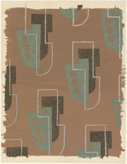 Drawing, Textile Design: Drop-Motif Pattern
