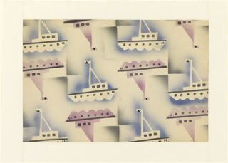 "Design for silk textile pattern ""The Rum Runners"". All-over repeat pattern shows airbrushed watercolor applied over sailboat stencil. Repeat features white boat in negative space surrounded by blue airbrush with details articulated in black alternating with upside-down boat in violet with details in black. Hoisted flags feature jolly roger; this, along with the title, allude to the illegal practice of importing liquor to Prohibition-era America."