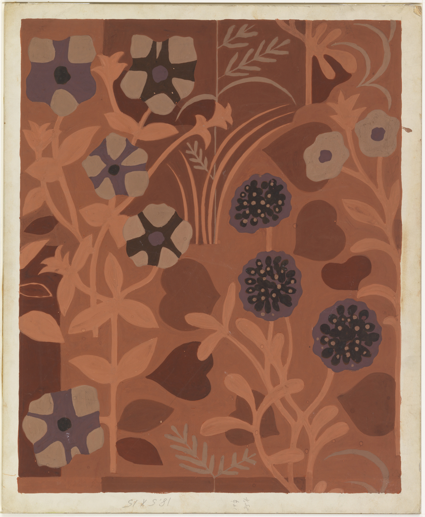 Design for textile with floral motif. Background comprised of rectilinear and curved forms in terra cotta, oxblood, and rust over which stylized floral blooms (in taupe, aubergine, and burgundy) and leaves (in lighter terra cotta and taupe) as well as heart shapes interplay.