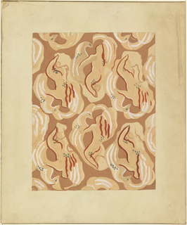 Abstracted figures of Leda (as a nude female) and the Swan entangled are repeated in shades of tan and white with green accents. Forms an overall pattern on a brown ground.