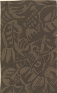 Bold abstracted forms create foliage and flower forms  in a medium shade of gray on a dark gray ground.