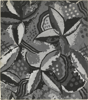 Large stylized flowers interspersed with dots and abstract forms.