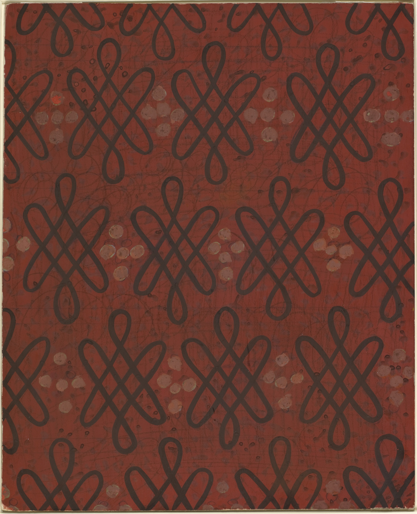 Design for carpet for the auditorium of the International Casino (1530 Broadway, New York, NY). Overall repeating pattern features discrete interlace elements alternating with clusters of oyster-colored dots painted over with light red gouache. These elements appear against deep red ground with subtly textured, swirling and gridded lines in graphite.