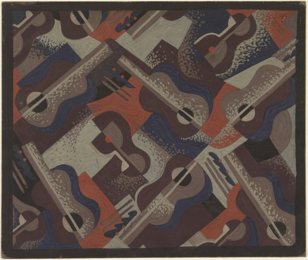 Drawing, Design for Carpet: Guitars and Cocktail Glasses for Radio City Music Hall, 1260 Sixth Avenue, New York, NY