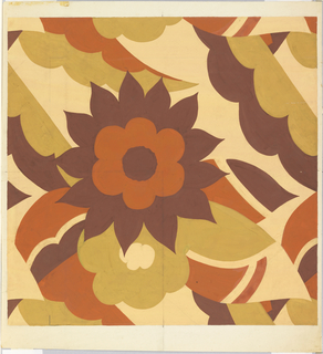Dark brown, rust, beige, and off-white colored geometric and organic shapes form floral and geometric pattern.