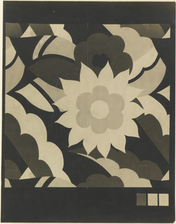 Photostat, design for rug. At center, flower with thirteen pointed petals and six rounded petals at interior is surrounded by stylized leaves and petals in varying shades of beige, brown, and black on a black ground. At lower left, three rectangular swatches reflect hues used in composition.