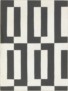 Design for textile with black and white optical, all-over, repeat pattern. Repeat unit is vertically-oriented bichrome rectangle with black left and white right side; superimposed over this is a smaller rectangle with white left and black right side.