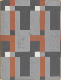 Repetitive abstract pattern of vertical and horizontal rectangles and squares in rust, black, white and gray.