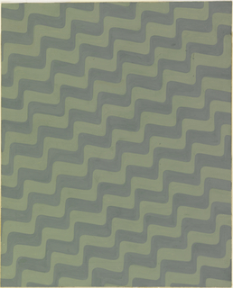 Design for textile with all-over repeat pattern of diagonal, undulating wavy lines in celadon and sage green.