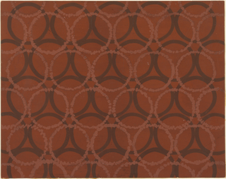 Design for textile featuring oxblood red ground over which maroon circles arranged in lines, with rows interlocking in alternating fashion. Over maroon circles, similar pattern with stippled mauve dots superimposed and offset. All-over repeat pattern.
