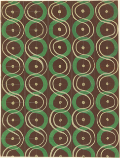 Design in dark brown ground consisting of a thick green vertical S shaped line, and a vertical S shaped line formed by two thin white lines. The two lines oppose eachother so that their curves form a circle, then cross. At the center of these circles there is a white dot. Tracing lines used to space the dots are visible.