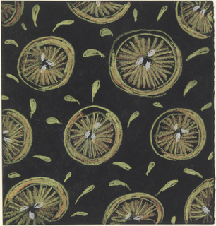 Nearly square sheet depicting abstracted slices of grapefruit in shades of yellow, scattered in the field with teardrop-shaped projectiles, likely meant to imply juice from the fruit.
