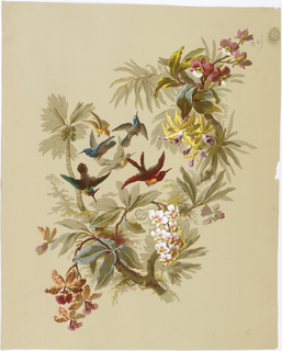 Forked branch at center of page with foliage and various orchids and tropical flowers growing from it. Between the two branches of the fork six birds fly: three brown and green, one yellow, one gray, and one red and yellow.
