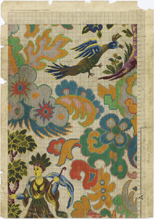 Crested bird, upper right; upper part of human figure wearing headdress, lower left.