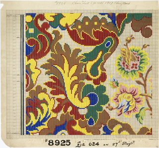 Stylized floral design, two large flowers at right.