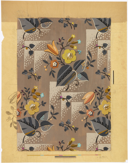 Stylized flowers, leaves and right angles with dots against dark tan background. Color chart at bottom.