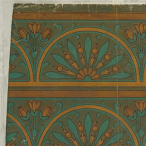 Six parallel bands, running with the length of the paper, each with repeating semi-circular motif of radiating conventional foliate forms, with cluster of three lotus flowers between the semi-circles. Color: Blue and earthen browns on dark earthen browns ground.