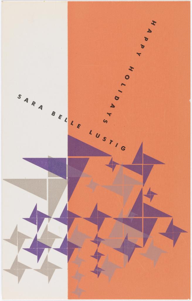 Card, Design for Happy Holidays postcard for Sara Belle Lustig