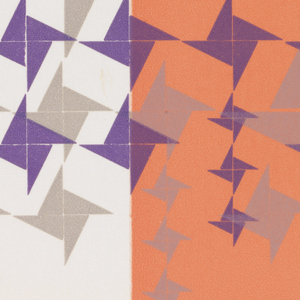 Page divided into 2 vertical registers: 1/3 wide white, 2/3 white dark salmon pink.  Two lines of text face eachother diagonally and form a downward pointing triangular shape.  Lower half of page: dark purple and light purple pinwheel shapes in various sizes.