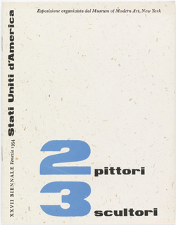 Booklet for the American exhibition at the 27 Venice Biennial, 1954. The numbers in the title are enlarged and printed in blue, whereas the rest is printed in black ink. The inside pages of the booklet contain informatiion about the artists and their works, text and images.