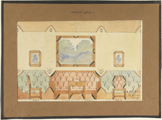 Horizontal rectangle. Sitting room elevation with unified wall and interior decoration.  Wood-framed sofa with folded corners on back and with same contour echoed on arms, upolstered in pink fabric with thin v-shaped leaf pattern. Dado decoration on either side of sofa comprising frame with folded corners, same leaf pattern but on blue background.  Painted frieze at top of wall also imitates the folded corner and leaf decoration as below.  On wall, large horizontal painting hangs over sofa with two smaller vertical paintings on either side.