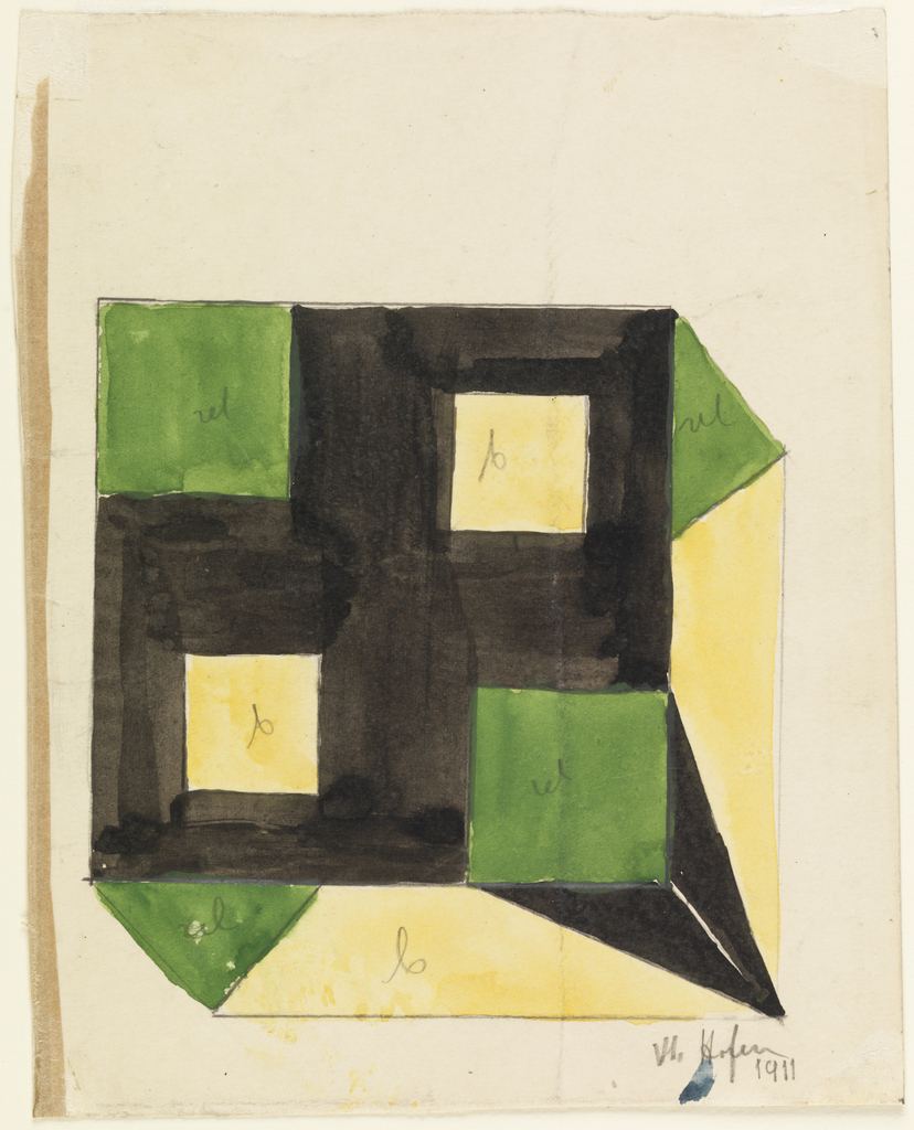 Vertical rectangle. Design for a tablecloth as seen from above. Green and yellow squares irregularly placed on black ground; on edges of cloth, triangular areas alternating in green and black on yellow ground.