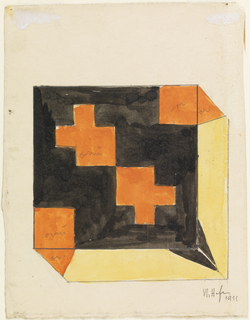 Vertical rectangle. Textile design as seen from above.  On top of textile, orange squares at lower left and upper right corners and two orange geometric motifs, shaped roughly like a Greek cross, in the center on black ground. Triangular shapes in black and orange on yellow fill edges. Verso:  textile design seen from the top with criss-crossing diagonal green and orange bands on yellow ground.  Bottom and right side of textile also visible with continuation of orange and green bands on yellow ground.