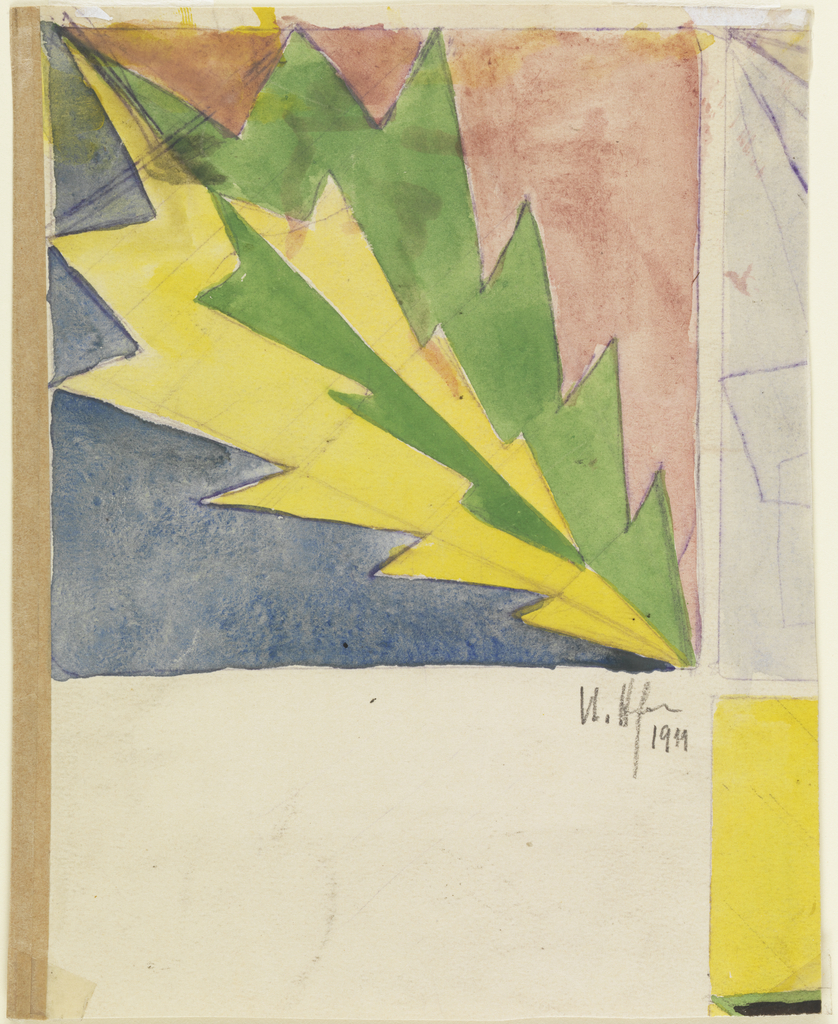 Vertical rectangle. In upper left corner of sheet, a stylized leaf, almost in the form of an inverted fir tree, one-half of which is colored green; one-half colored yellow on ground of rose (in upper right) and blue (at lower left).  Fragments of two additional designs along right edge.