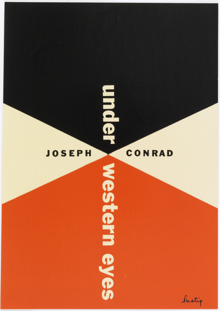 Black and rust pentagons with two cream triangles. Title of book printed vertically down center.